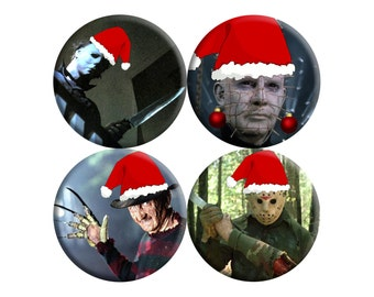 CHRISTMAS Horror Icons Badge SET of FOUR [Michael Myers, Freddy Krueger, Pinhead, Jason Voorhees]