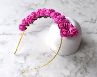 Hot Pink Rose Flower Headpiece / Fascinator - Gold Headband