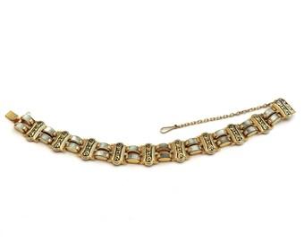 Damascene Bracelet,Toledoware Moonglow acrylic lucite, Link Bracelet