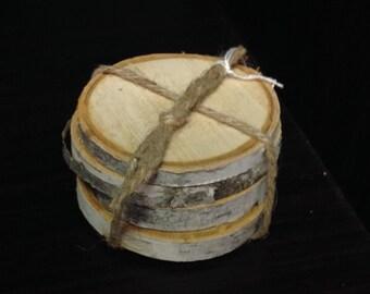 Birch Bark Wood Coaster Set