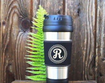 Travel mug, Leather Travel Mug, Leather Coffee Mug, Personalized Travel Mug, Personalize Coffee Mug, Coffee Mug, Customized, Gift for her