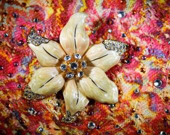 Vintage Nolan Miller Coffee Cream Colored Flower Rhinestone  Brooch