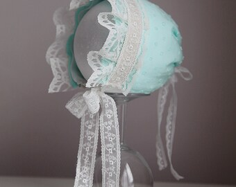 Newborn Baby Bonnet Christening or photography prop