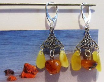 100% Natural Baltic Amber Earrings 5.9 gr. 925 Silver plated yellow and cognac opaque beads souvenir gift present 3 suspenders