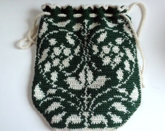 Flowering Vines Purse, Tapestry Crochet Purse