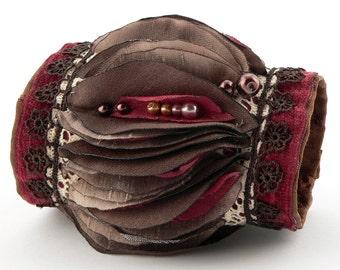 Falling Leaves Motives Fabric Wrist Cuff,Fall Colors Fabric Bracelet,Victorian Wrist Cuff,Boho Fabric Wrist Cuff