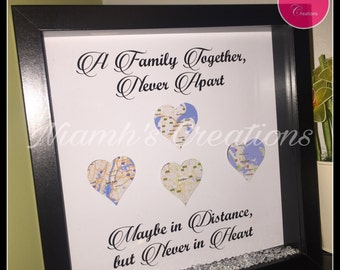 Family Together Never Apart Maybe in Distance but Never in Heart - Map Location Frame