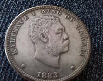 United States King Kalakaua Hawaii Quarter Dollar Coin 1883 Restrike