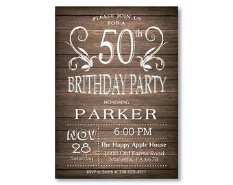 50th Birthday Invitation for men. Rustic 30th 40th 60th 70th 80th Any Age. String Lights Wood. Adult Birthday Invitation. Printable Digital