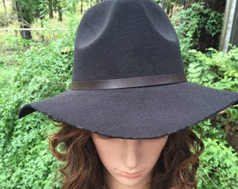 Felt Wide Brim Fedora with a Brown Leather Band with Gold Buckle Comes in  Black and Brown