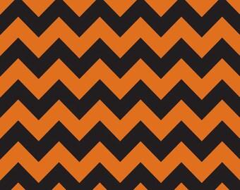 Orange and Black Medium Chevron for Riley Blake Designs - Halloween - 100% Cotton Flannel Fabric - by the yard fat quarter half