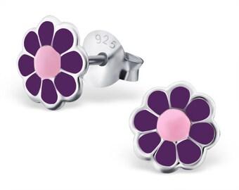 Children's Silver Flower Ear Studs