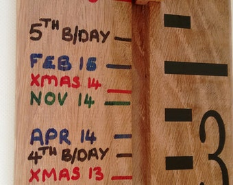 Handmade Wooden Growth Chart / Height Chart in Solid Oak, Ideal Christening Gift