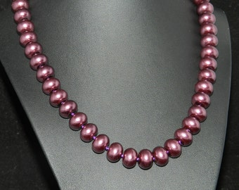 CLEARANCE * Chunky Mauve Pearl Necklace  18in