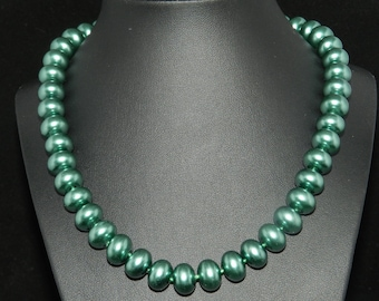 CLEARANCE * Chunky Green Pearl Necklace  18in