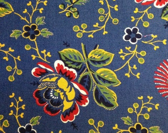 Floral on Blue Background, Lorraine by American Jane Patterns by Sandy Klop for Moda Fabrics, 100% Cotton
