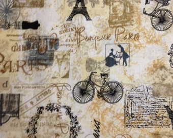 Paris Setting with Browns, Tans, Blacks on Light Background by Hi-Fashion Fabrics, 100% Cotton