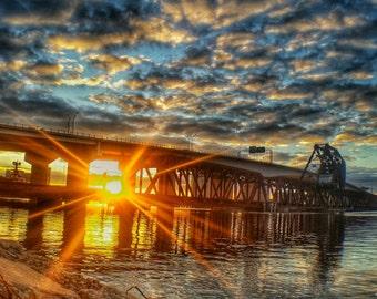 Sun rising- metallic canvas