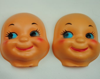 4 Vintage Caucasian Baby Doll Faces