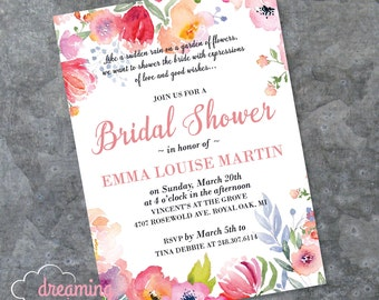 Watercolor Floral Bridal or Baby Shower or Birthday Invitation
