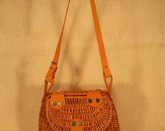 Leather - wicker handbag 052