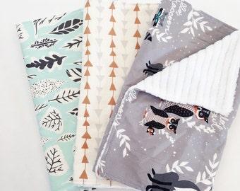Woodland Burp Cloths / Baby Boy Burp Cloths / Set of 3 Burp Cloths / Macie + Me / Baby shower Gift / Animal Burp Cloths / Macie and Me