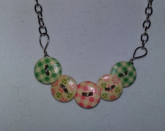 Pink and Green Checked/Floral Wooden Button Necklace