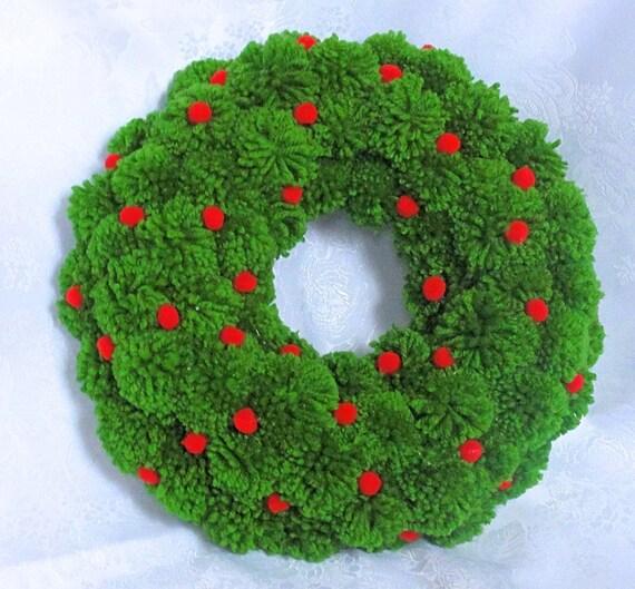 Groene vakantie krans - Kerstmis Pom Pom krans - Groene Kerst krans - voordeur krans - Pom Pom Ornament Krans - Pompom krans