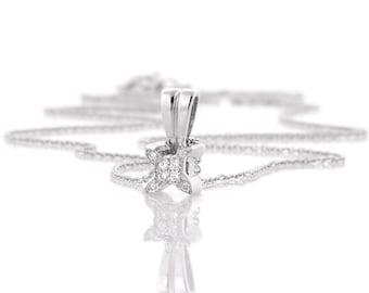 Pave Diamond Pendant Necklace, 14K White Gold Pendant, Natural Diamond Necklace, Gold Chain Necklace, Delicate Necklace