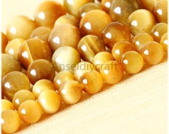 B54 Nature Golden Tiger Eye Beads Supplies, Full Strand 4 6 8 10 12 14 16mm Round Tiger Eye Gemstone Beads for DIY Jewelry Making