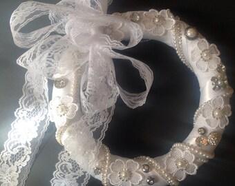 Jeweled Lace Wreath, Bridal Wreath, Wedding Decor, Bedroom Decor, Christmas Decor, White Christmas, Shabby Chic Decor, Gift for Her
