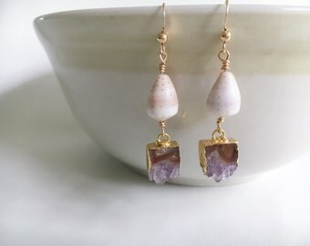 Purple Druzy and Cone Shell Earrings, 14kt Gold Fill