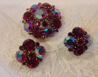 WEISS Vintage Red Iridescent Rhinestone Brooch and matching Earrings..BEAUTIFUL!
