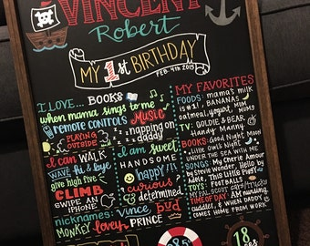 Birthday Board / First Birthday Chalkboard / Nautical Pirate Themed