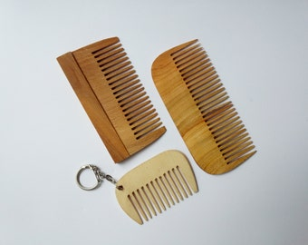 3 Wooden comb set Wood comb Anti static comb Hair care Comb with handle Handmade comb Hair comb Eco friendly comb