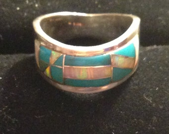 Beautiful sterling silver opal and turquise inlay ring size 7