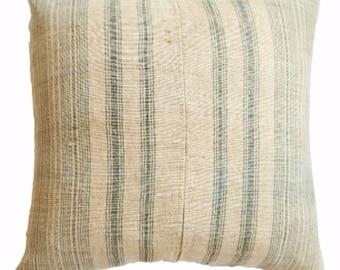 Vintage Green Striped Pillow