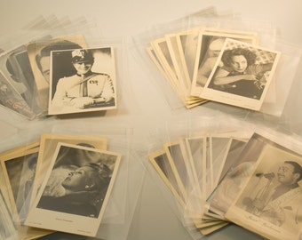 38 vintage trading cards with celebrities & 11 clippings from 30s/ 40s - one with origional signature