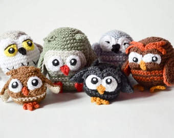 Crochet PATTERN - Owlery 4 PDF patterns for each owls by Krawka owls, cute, grumpy, sleppy, snowy owl, harry potter, birds, crochet, bunch