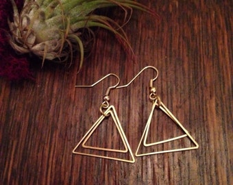 Triangle earrings, brass earrings, boho jewelry, drop earrings