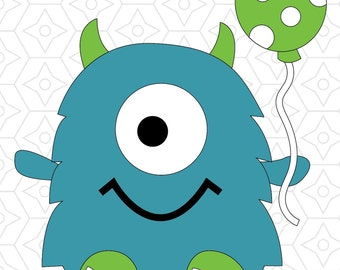 Birthday Monster Vector Design, SVG, DXF and AI Vector files for use with Cricut or Silhouette Vinyl Cutting Machines