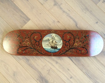 Handpainted skateboard deck, old dutch decoration style, one of a kind