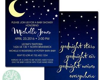 Goodnight Moon Invitation | Moon Invitation | Moon Stars Baby Shower - 5x7 with reverse side