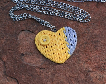 Yellow Knitted Heart Necklace