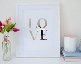LOVE - Rose Gold Foil Print