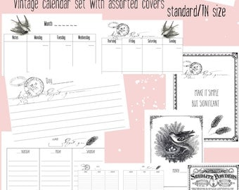 digital, printable, Calendar, Vintage, wo2p, mo2o, three covers & journal ~PDF TN/standard size