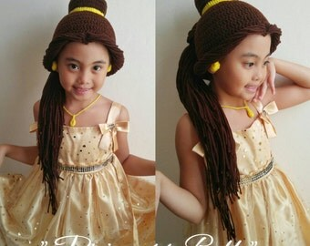 Belle, belle hat, Disney Princess belle wig or hat, belle costume hat, disney princess costume, belle crochet hat, beauty and the beast hat