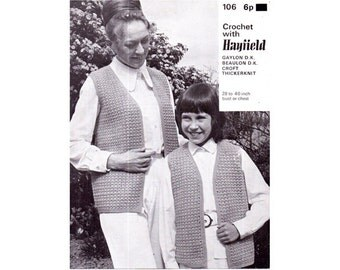 Genuine Vintage 1960s Mother and Daughter Waistcoats Crochet Pattern