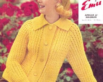 Genuine Vintage 1960s EMU 2273 'Oh So Yellow' Oversized Collar Ladies Cardigan Knitting Pattern
