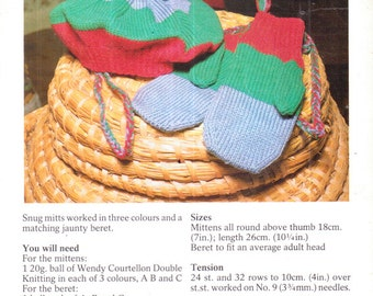 Genuine vintage 1980s Pretty Colourful Novel Mittens and Beret Knitting pattern